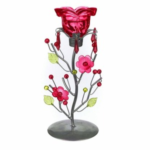 Red Rose Tea Candle Holder Stand Candleholder