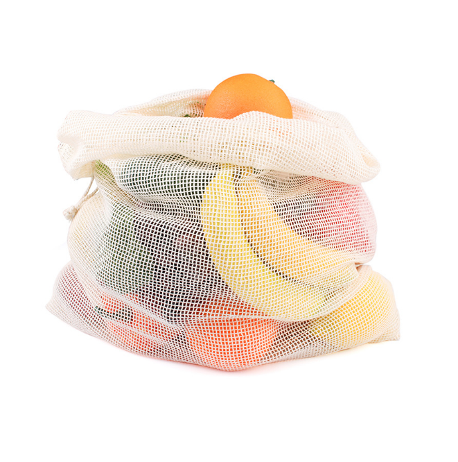 12pcs Natural Cotton Mesh Bags Washable 3 Sizes Cotton Bags for Grocery Shopping Storage