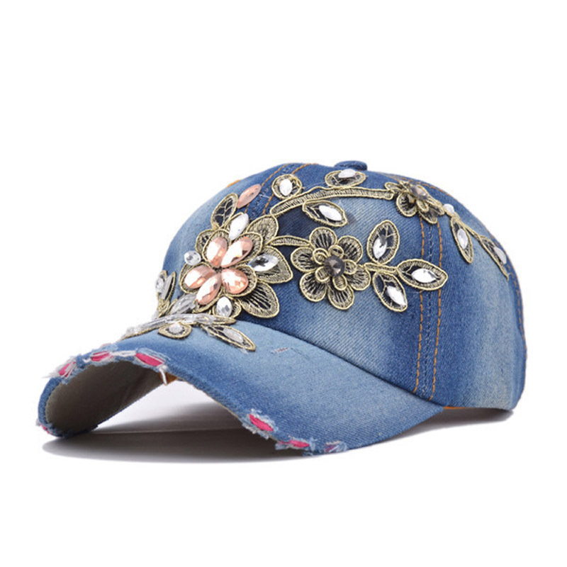 Baseball Caps 2015 New Top Quality Denim Adjustable Cap Fashion Leisure Rhinestones  Jean Women Snapback CAPS 07e237a585f8