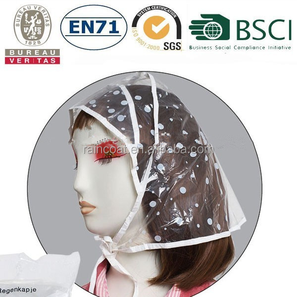 CE ladies fashion clear logo printed plastic rainbonnet,rain hood,rain hats