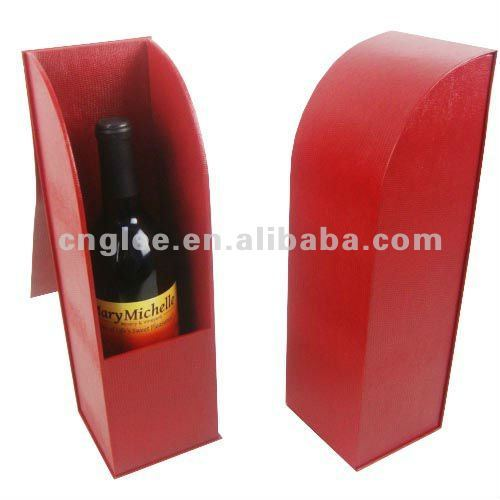 Single Bottle Red Luxury Leather Wine Carrier