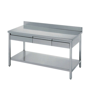 Stainless steel industry kitchen work table drawers work for Stainless steel drawers kitchen