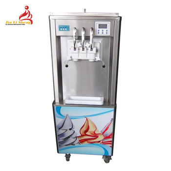 3 Flavor Commercial Soft Ice Cream Making Frozen Yogurt Soft Serve Ice Cream Machine with Rainbow Syrup System