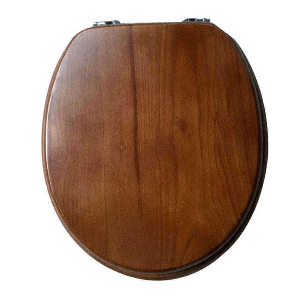 ANHPI U V O Universal Toilet Seat Recessed Solid Wood Toilet Lid Antibacterial Type,WoodColor-42-4738cm