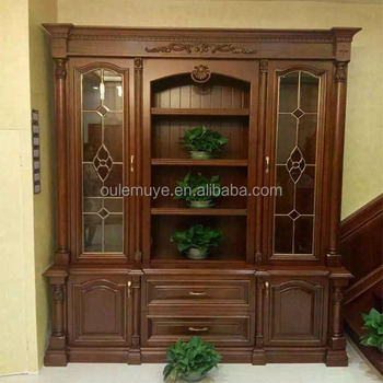 Custom Study Furniture Solid Wood Bookcase With 2 Glass Doors Buy