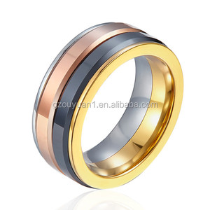 Make 8MM Fashion Jewelry Rings Rose Gold and Black Tungsten Ring for wedding