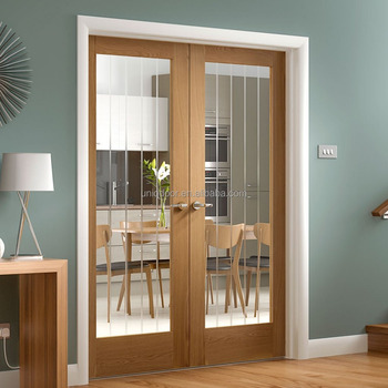 Oak Wood Door Etched Lines Clear Glass Interior Double Swing Door