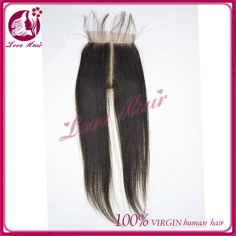 Arrivaling interesting middle part lace closure Be able to dyed black color closure qingdao lovely straight hair