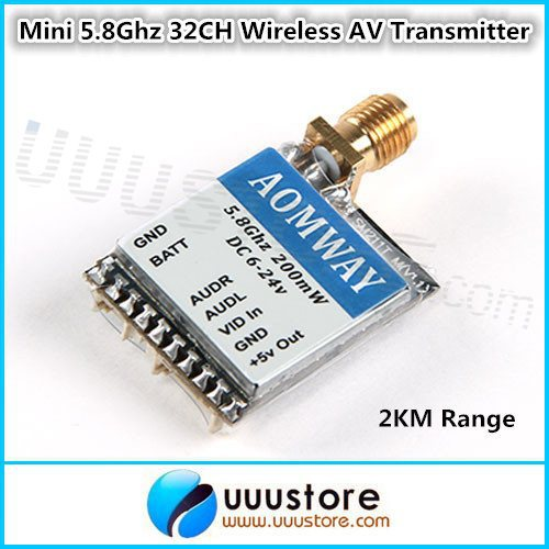 2KM Range Aomway Mini Micro 200MW 32ch 5.8GHz Video Transmitter With Cable Set