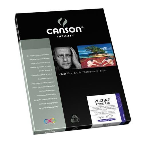 """Canson Infinity Infinity Platine 100% Fibre Rag Bright White Smooth Satin Inkjet Paper, 310gsm, 8.5x11"""", 25 Sheets"""