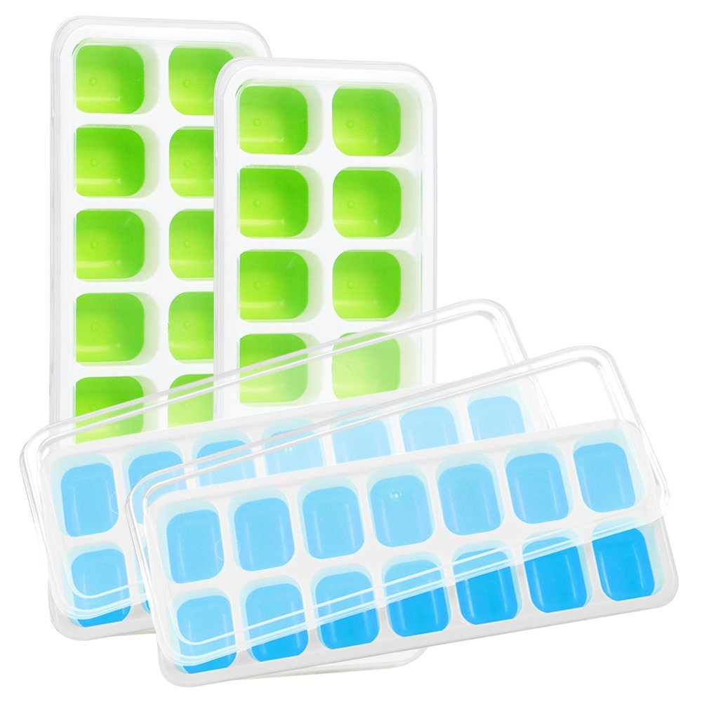 Kootek 4 Pack Silicone Ice Cube Trays with Lid - BPA Free Ice Cube Molds Easy Release Flexible FDA Approved Trays with for Chill Drinks Whiskey Cocktail (Blue & Green)