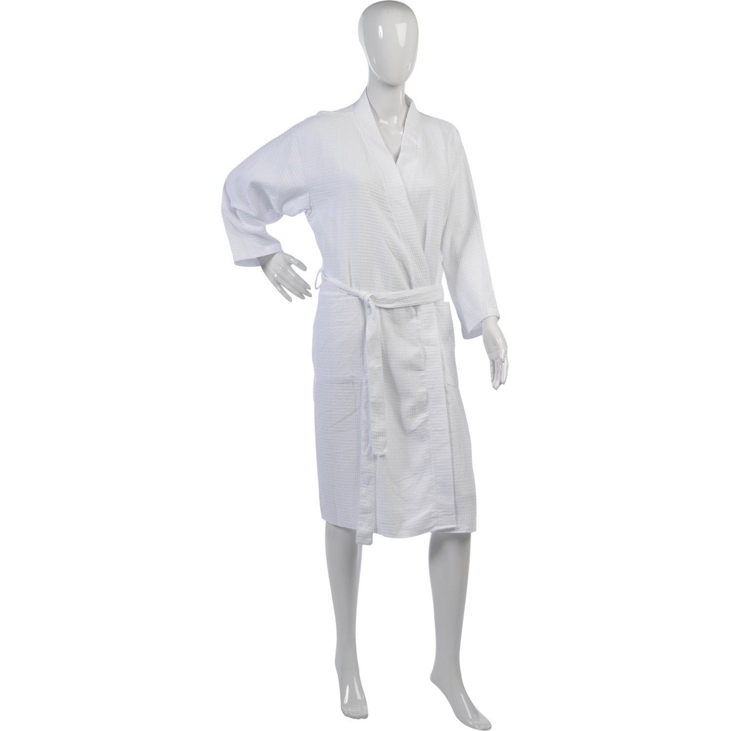 feb75536e4 Get Quotations · Ladies Lightweight Waffle Dressing Gown 100% Cotton Long  Sleeved Wrap Bath Robe
