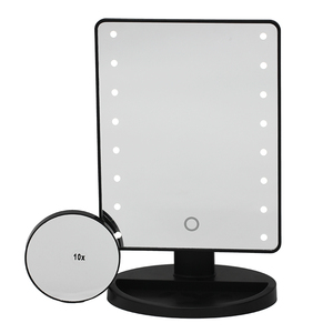 Black led cosmetic mirror with base of 16 led lights