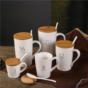 wholesale white custom ceramic coffee beer travel mugs sublimation with wooden lid handle and spoon