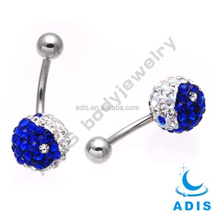 Ferido Crystal YingYang Logo Belly Button Ring Collection Body Piercing Jewelry Navel Ring