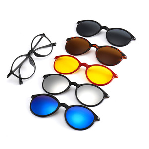 2223A Superhot Eyewear 5 in one Clip-on Sunglasses Polarized Magnetic lens Plastic Frame Night Driving Glasses
