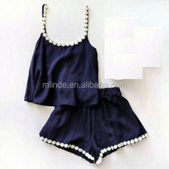 Summer Clothes Women Two Piece Lace Navy Blue Cami Tank Top & Shorts