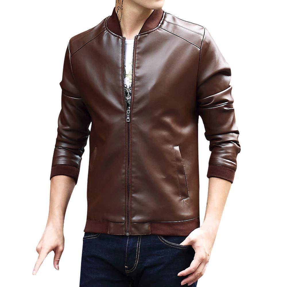 Mens Leather Jacket,Cold Weather Zipper Bomber Jacket Slim Fit Outwear Trench Flight Coat Zulmaliu