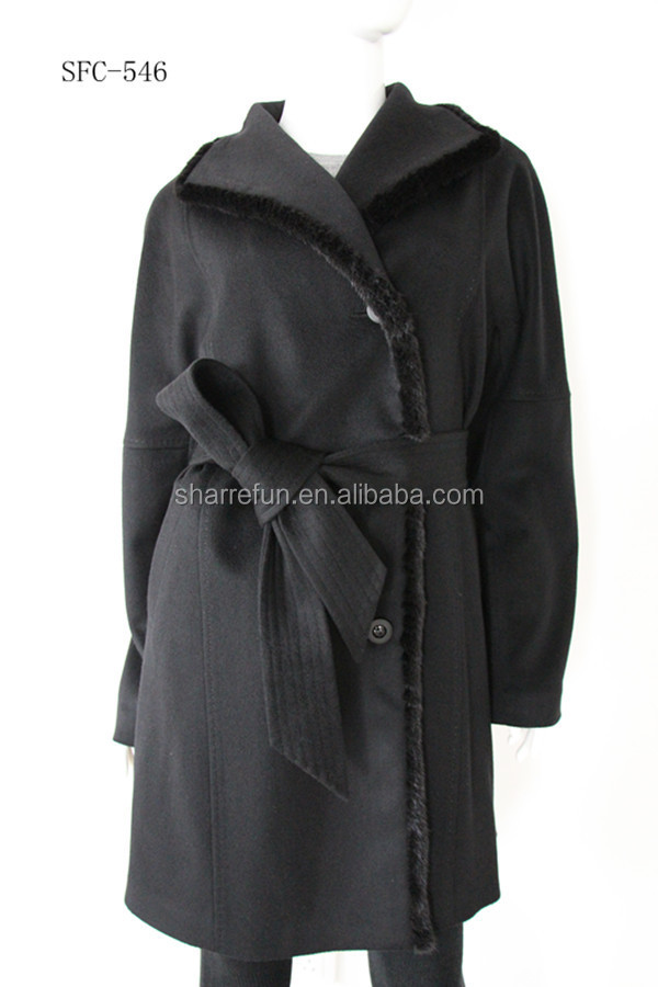 wholesale luxurious women's style 100%Cashmere winter coat with mink fur collar