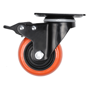 Double Ball Bearing Orange Color Caster Wheel PU