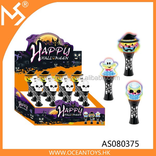 Halloween LED Light Up Pumpkin Ghost Witch Spinning Magic Wand