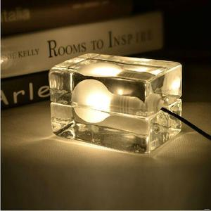 China supplier square ice cube glass lamp mini led bulb table lamp