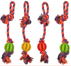 Eco friendly rubber cotton rope dog toy dog chew toy set dog puzzle toy