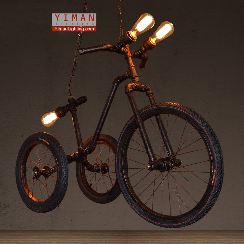 industrial unique creative bicycle type pendant light indoor pendant light iron hand made pendant lamp individual decor lighting