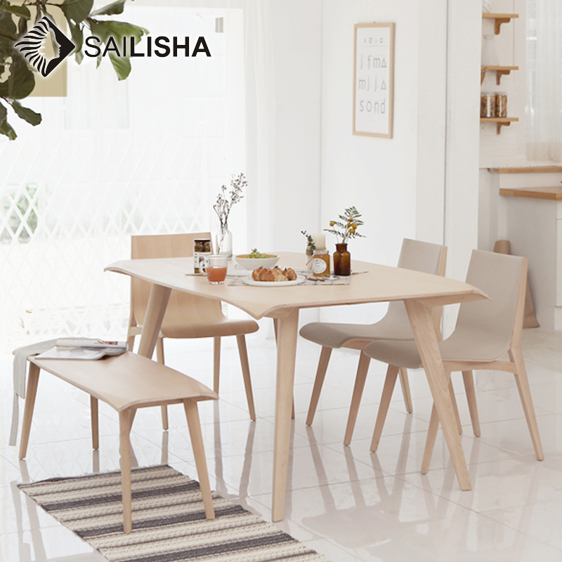 Strange Water Resistant Natural Wood Color Modern Rectangle Dinette Dining Table Wood With Bench And Chairs Set Buy Thick Wood Slab Dining Table Wood Beutiful Home Inspiration Ommitmahrainfo