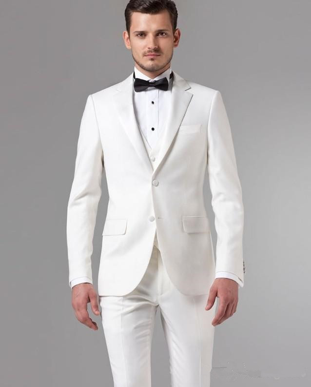 Hot Sales White Color Groomsmen Wedding Suits Custom Made