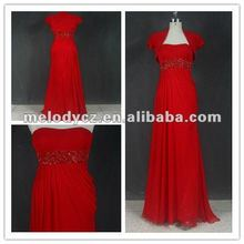 Dark red beaded chiffon prom dresses 2016 long evening with a similar coat