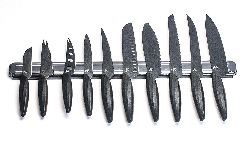 """GELA EK-0848 10 Piece Knife Set With Magnetic Bar, 3""""-10"""", Black"""