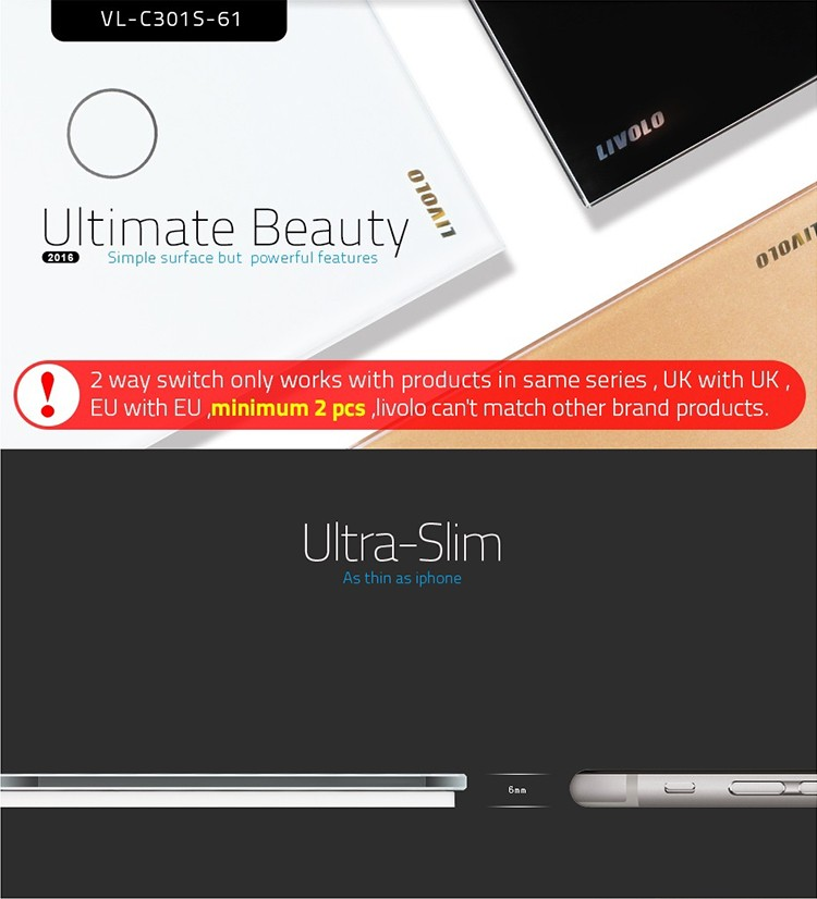 Livolo Smart Home 1gang 2way Uk Touch Light Switch Vlc301s61