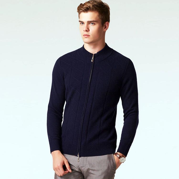 ブランド服冬暖かい厚手のニットジッパーのセーターの男性