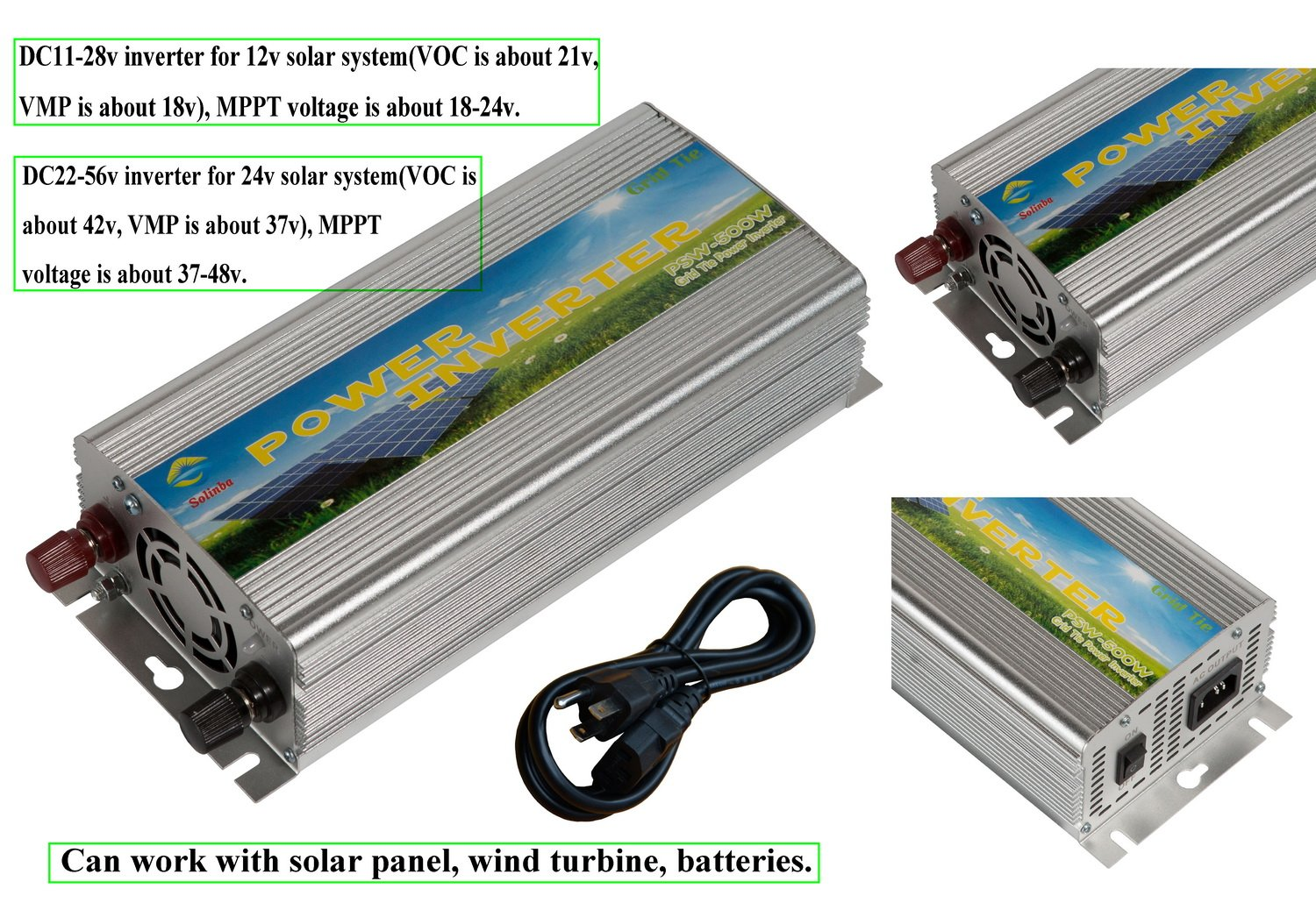 solinba on Grid Solar Inverter 500w DC11-28v to AC110v Pure Sine Wave For 12v Solar Panel USA plug