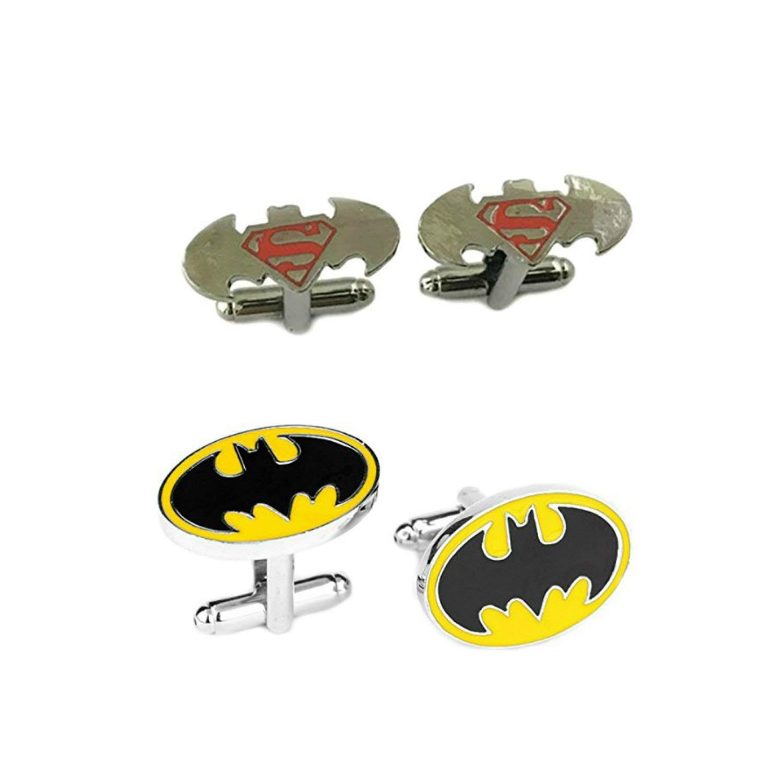 DC Comics 2 Pairs Batman VS Superman & Batman Superhero 2018 Movie Mens Boys Cufflinks