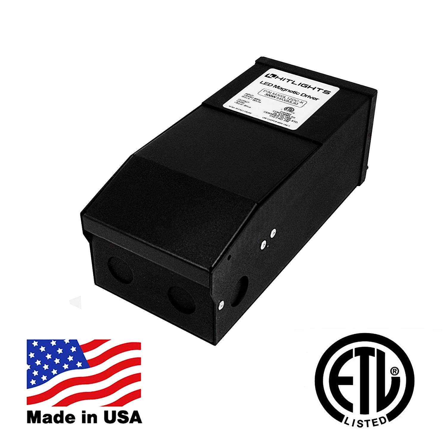 HitLights 300 Watt Dimmable Driver, Magnetic, for LED Light Strips - 110V AC-12V DC Transformer. Made in the USA. Compatible with Lutron and Leviton