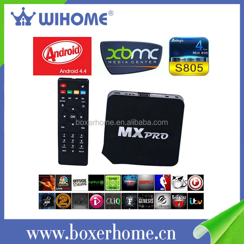 Factory Price KODI Fully Load mvx jailbroken android 4.4 kitkat <strong>amlogic</strong> S805 Quad Core <strong>tv</strong> <strong>box</strong>