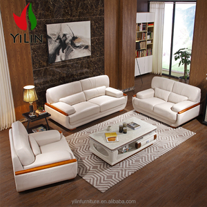 wooden curve 321 sectional genuine leather sofa set