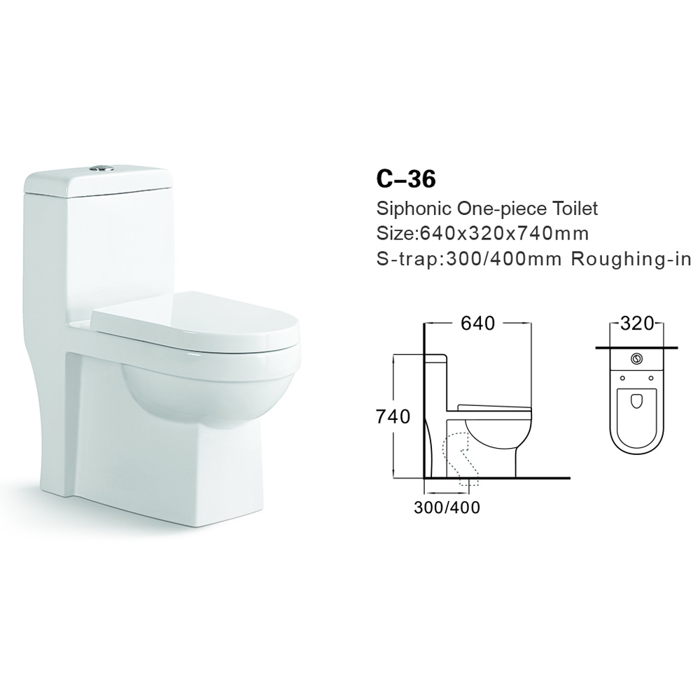 C-36 Bathroom Ceramic Sanitary Ware Siphonic One-piece Toilet
