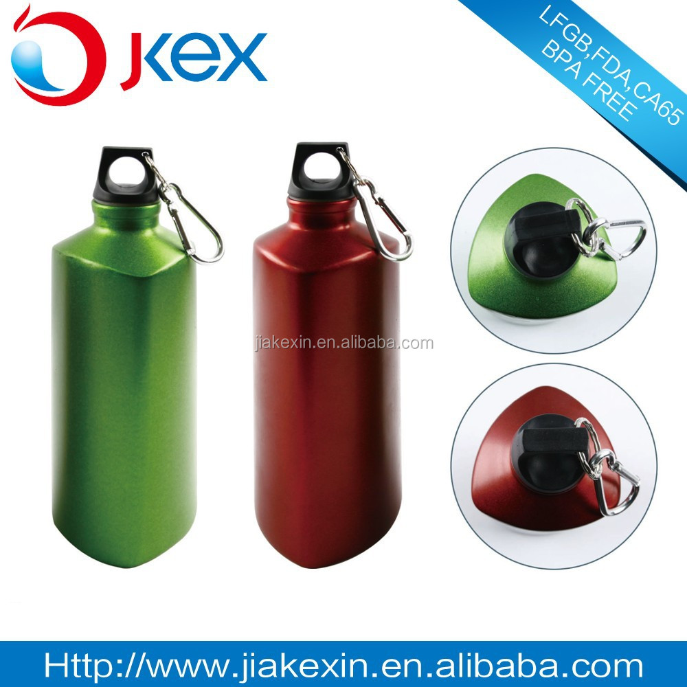 Wholesale triangle shape aluminum sports water bottle with carabiner hook