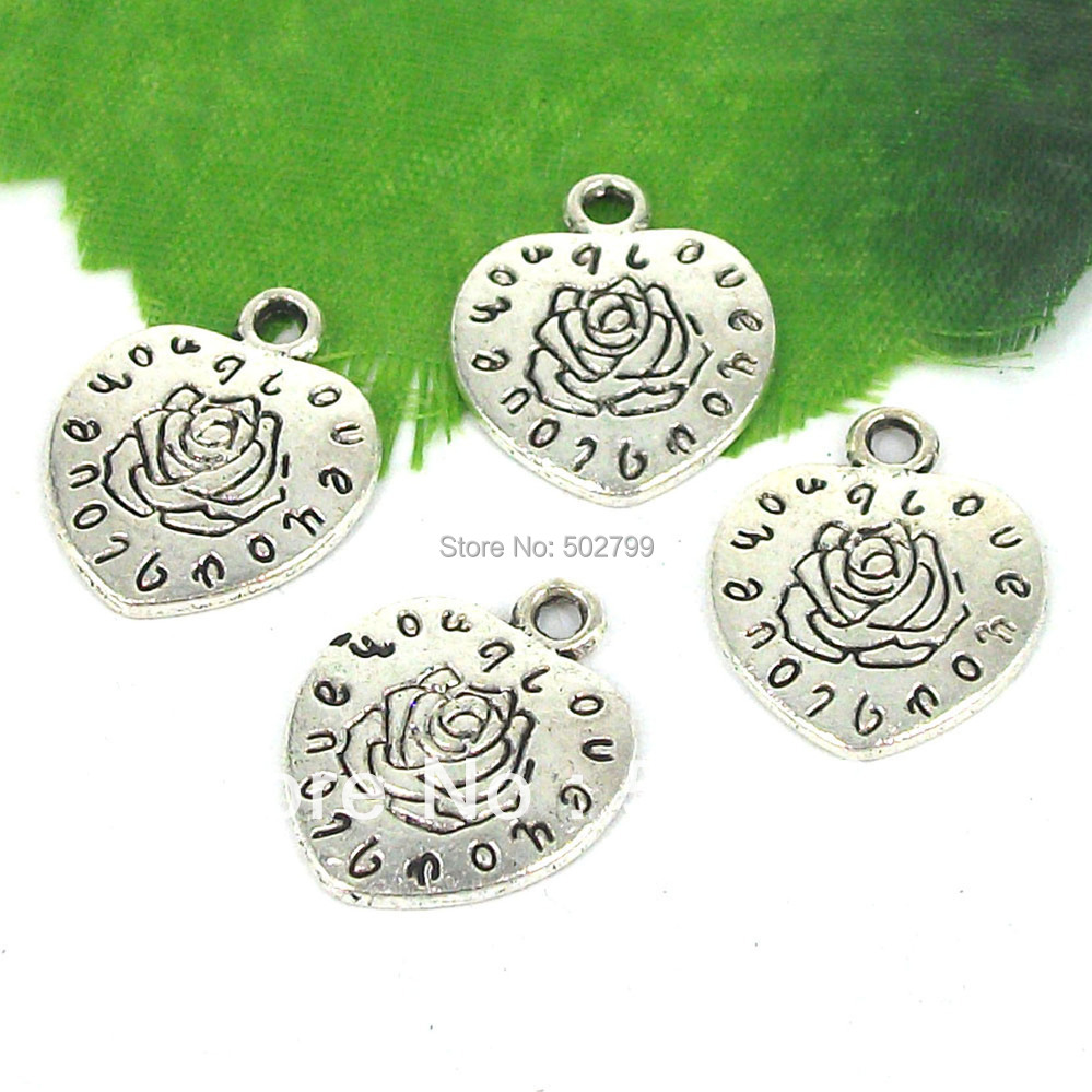 Free Shipping Wholesale 20pcs Tibetan silver Love Heart Flower Beads charm pendants 18x23mm TS9335
