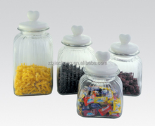 big glass food containers hermetic wholesale /apothecary jars with ceramic lid