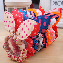 10Pcs/lot Hot Sale Fashion Girls Hair Band Mix Styles Polka Dot Bow Rabbit Ears Elastic Hair Rope Ponytail Holder Free Shipping