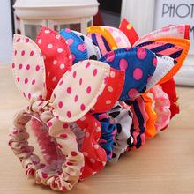 10Pcs/lot Hot Sale Fashion Girls Hair Band Mix Styles Polka Dot Bow Rabbit Ears Elastic Hair Rope Ponytail Holder Free Shipping