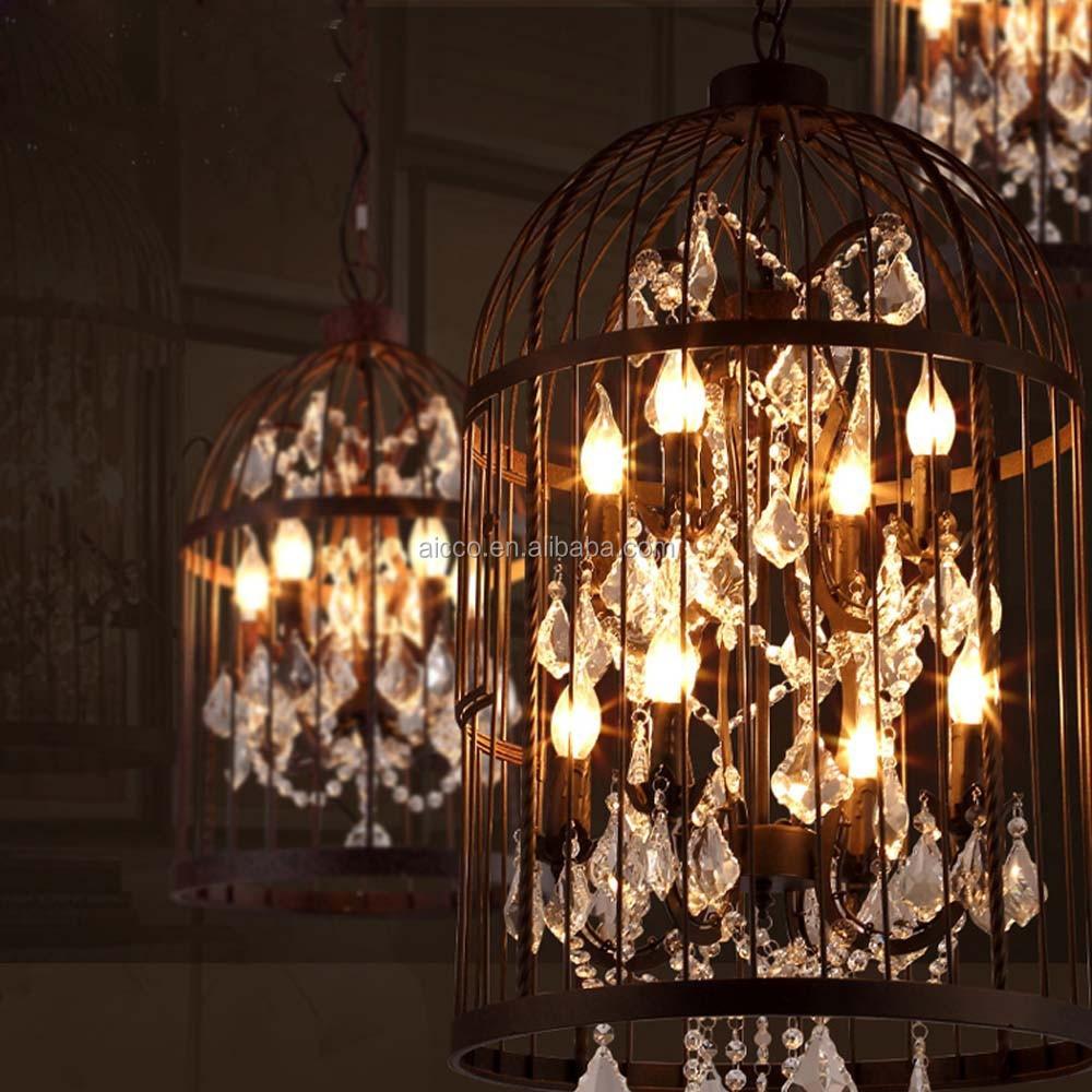 vintage industriellen pendelleuchte vogelk fig mit kristall kronleuchter dachboden dekorativ. Black Bedroom Furniture Sets. Home Design Ideas