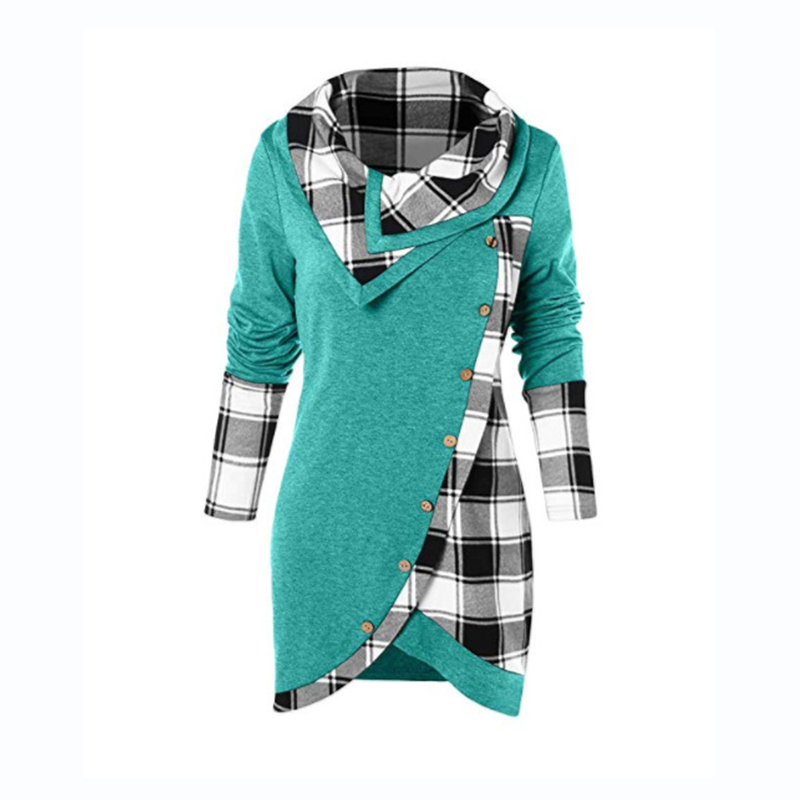 Women Cowl Neck Plaid Drawstring Button Pullover