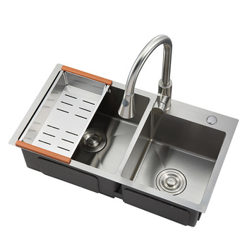 8045 Standard Size Stainless Steel Double Bowl Corner Kitchen Handmade Laundry Sink Bow