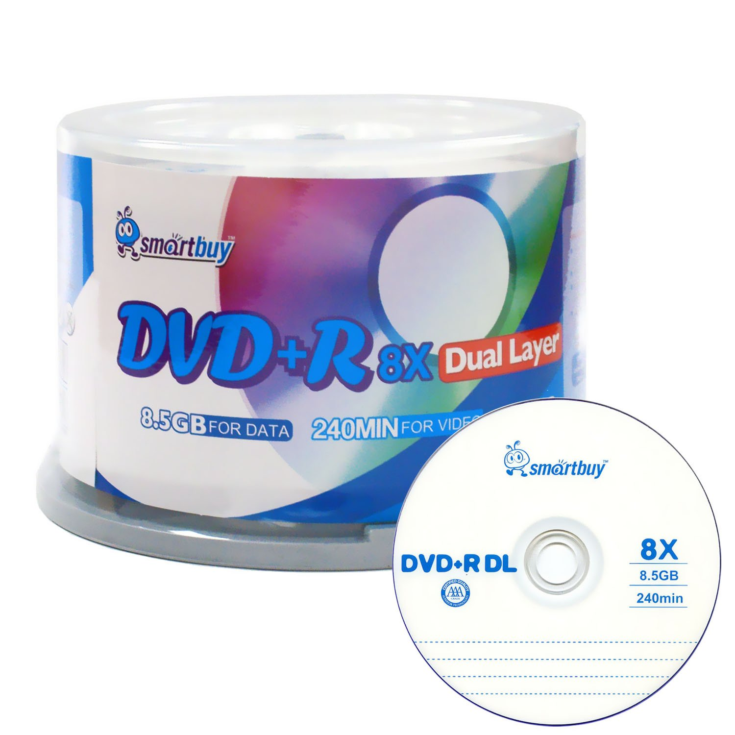 Smartbuy Logo 50-disc 8.5gb/240min 8x Dvd+r Dl Dual Layer Double Layer Blank Data Record Media Disc Spindle