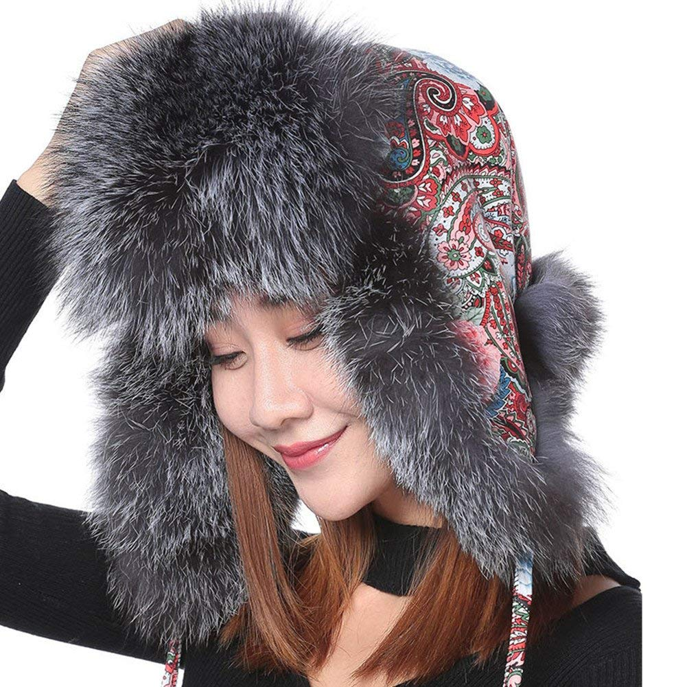 46c03ade8f2ca5 Get Quotations · Valpeak Womens Winter Hat Genuine Fox Fur Russian Trapper Ushanka  Hats With Pom Poms (Silver